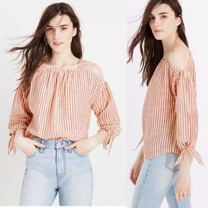 Madewell striped cold shoulder top
